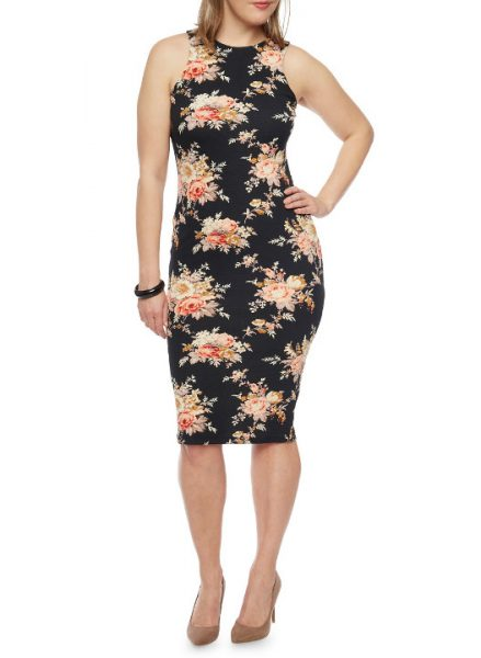 Women's plus sizes bodycon floral print dress