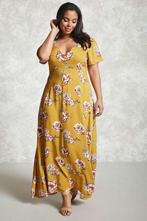 Plus size spring maxi floral dress