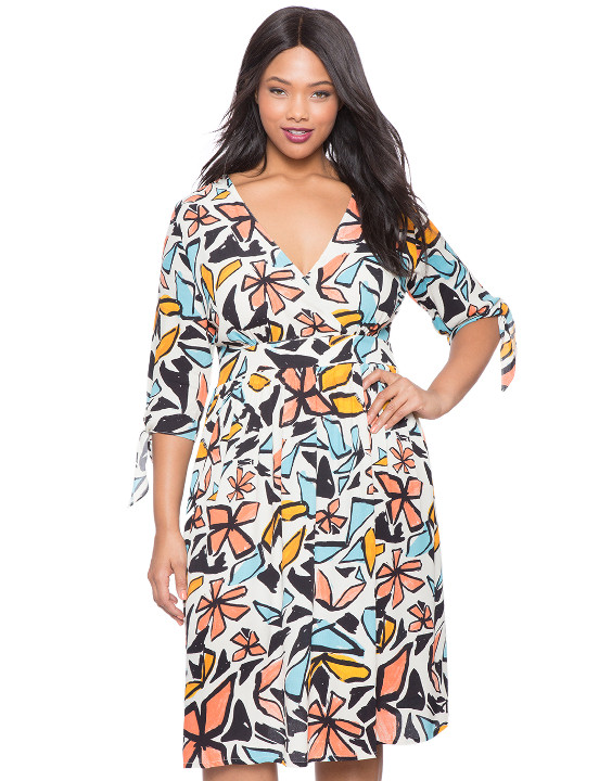 Women plus sizes abstract floral print wrap dress