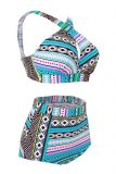 High Waisted Floral Bikini Front Cross Tribal Ladies Plus Size Swimwear