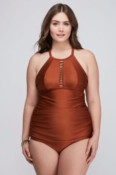 Shimmer Strappy High-neck Swim Tank With Built-in No-wire Bra