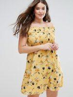 asos curve shirred off-shoulder sundress floral print