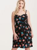 Floral Print Front Bow Challis Plus Size Dress