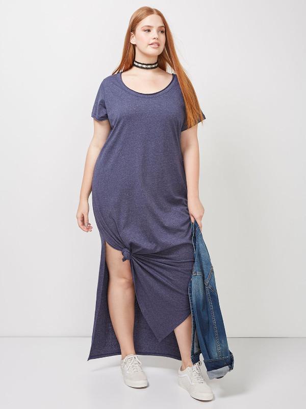 MAXI DRESS WITH ASYMMETRICAL KNOT HEM