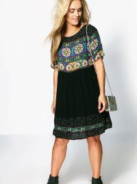 Plus Katie Retro Print Smock Dress