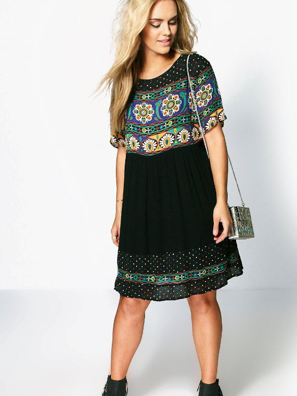 Plus Katie Retro Print Smock Dress