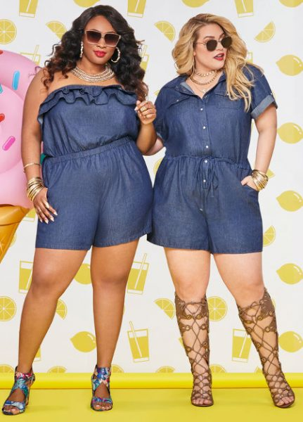 Plus Size Chambray Rompers