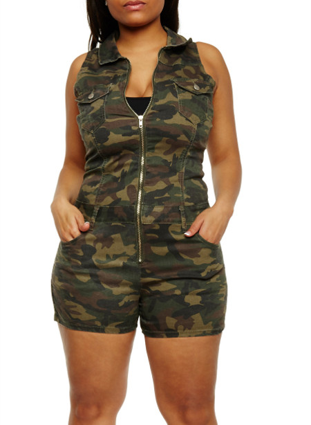 Plus Size Camouflage Zip Front Romper