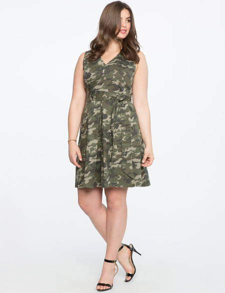 Sleeveless Camo Print Dress Fit and Flare