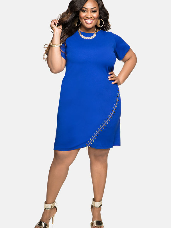 Stud Expozed Zip Sheath Dress In Plus Sizes