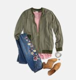 Embroidered Jeans Bomber Jacket Outfit