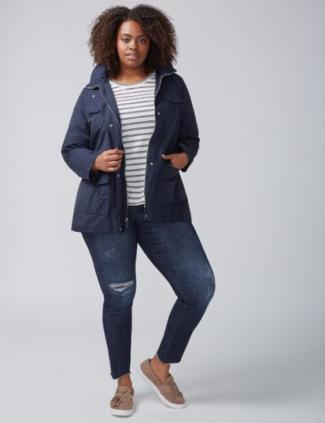 Lined Navy Plus Size Anorak