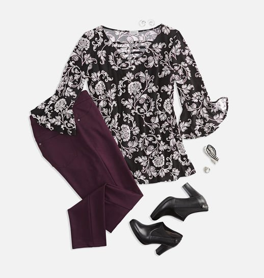 Paisley blouse outfit plus sizes