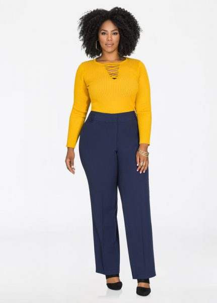 Straight Leg Blue Pants Office Outfit