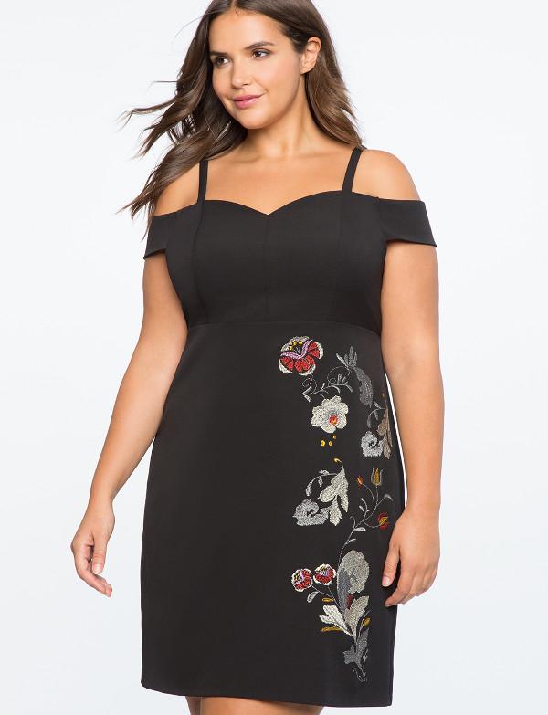 Cold Shoulder Black Dress Embroidery Eloquii