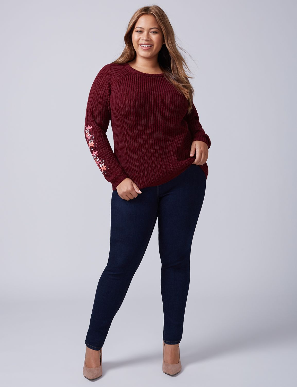 Plus Size Knitwear Embroidered Sweater