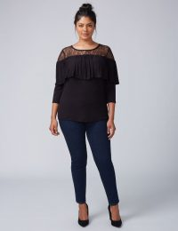 Lace Yoke 3/4 Sleeves Top