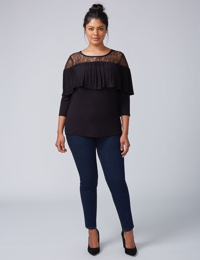 Plus Size Knitwear Lace 3/4 Sleeve Sweater