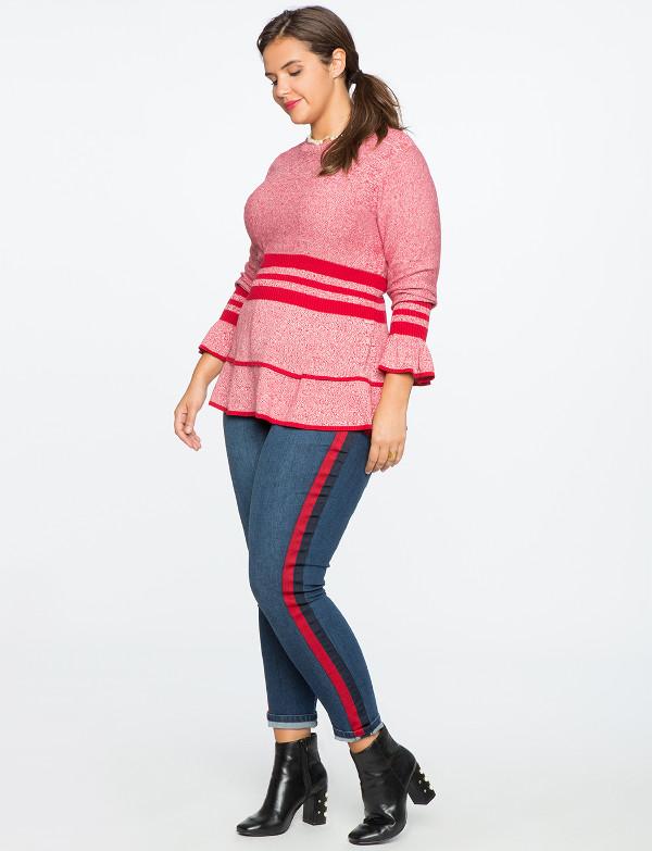 Plus Size Knitwear  Marled Sweater Sporty Stripe & Flounce