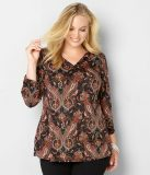 PAISLEY V-NECK LACE-BACK TOP