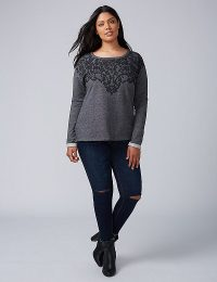 Womens Plus Size Lace Printed Sweatshirt