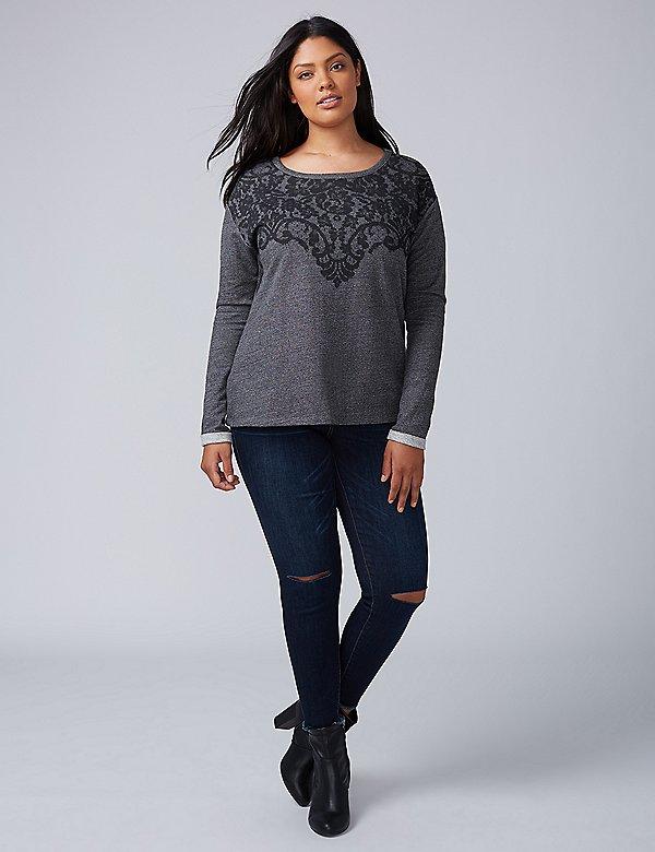Plus Size Knitwear Printed Sweatshirt Lace
