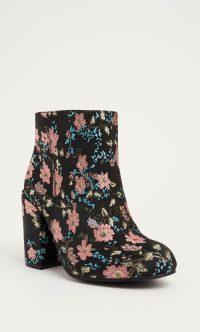 Brocade floral booties wide width