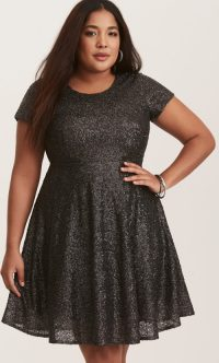 Gunmetal Grey Sequin Skater Dress by Torrid