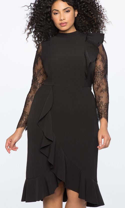 Lace Sleeve Ruffled Hem Dress