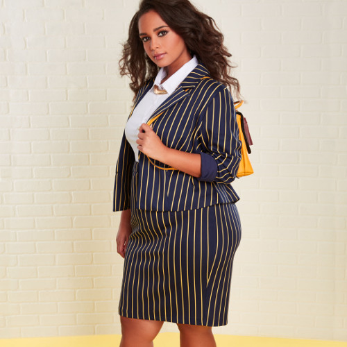 workwear ourfits with crop pin stripe blazer