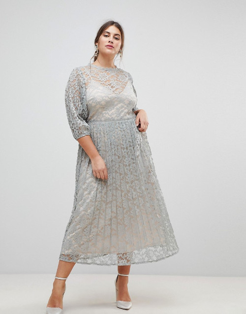Little Mistress Plus All Over Lace Maxi Dress With Balloon Sleeve Detail