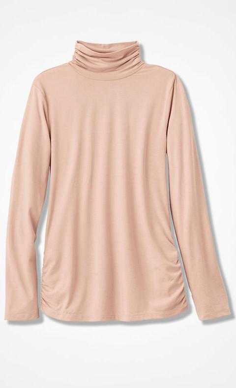 Turtleneck Ruched Sides Sweater