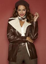 plus size aviator style leather jacket