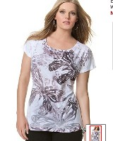 floral print plus size graphic tees