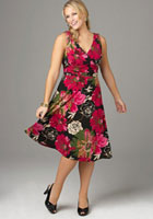 rose pattern sundress in plus sizes