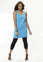 plus size summer dress combined with black leggings
