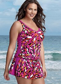 Plus Size Skirtiny With Flared A-line skirt with attached inner panty trims your tummy