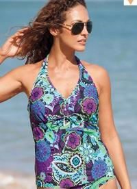 Plus Size Halter Tankini Top With adjustable straps and soft foam cups for shape and support.